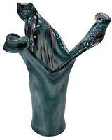 Handmade Murano Glass Vase By Venetian Craftsmen Teal Blue Flower Vase 39cm Tall
