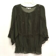 Daniel Rainn Sheer Olive Green Boho Blouse Medium