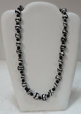 #bbw GLASS BEADS WITH FOIL, BLACK AND SILVER NECKLACE