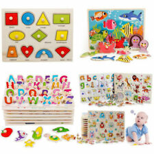 30 Design Wooden Animal Letter Puzzle Jigsaw Early Learnin Kids Educational Toys