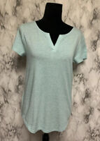 Loft Size S Blue Sparkly Scoop V-Neck Short Sleeve Blouse NWT $29.99