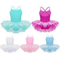 Kids Girls Layered Lace Ballet Tutu Dress Gymnastics Dance Leotard Costume Skirt