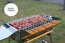 Grill BBQ Holzkohlegrill Standgrill Mangal Schaschlikgrill Edelstahl +14 Spieße