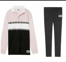 Victoria's Secret PINK Pink Nation Rugby Tee & Legging Outfit Set, NWT S