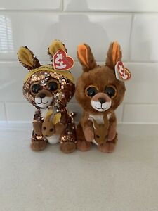 "2017 Kipper Kangaroo And 2019 Matilda Kangaroo Flippables Ty Beanie Boos 6"" 15cm"