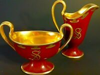 T & V LIMOGES CREAMER & SUGAR HAND PAINTED ARTIST SIGNED THICK GOLD ANTIQUE