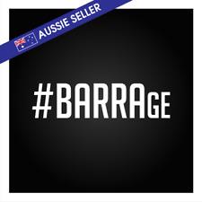 #BARRAge Barrage Sticker White 20cm 200mm Barra The World BF BA GU Turbo