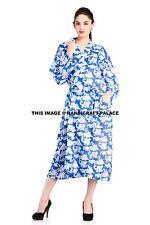 WOMENS 100% COTTON HAND BLOCK PRINT FABRIC BATH ROBE DRESSING GOWN NIGHTWEAR