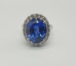 12.67ct Natural Untreated Sapphire & Diamond Oval Ring, 18K White Gold £155K RRP