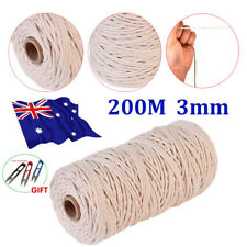 200 M 100 Natural Beige Cotton Twisted Cord Craft Macrame Artisan String 3mm