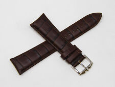 """Rotary 22mm Alligator Grain Leather Watch Strap Band 8"""" Long Silver Buckle BROWN"""