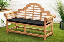Black Waterproof Cushion Pad Lutyens Teak Bench Garden Furniture Outdoor Seat