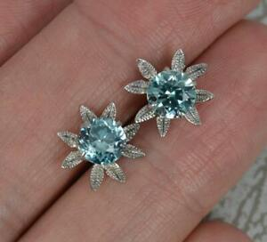 Vintage 9 Carat White Gold and Blue Zircon Flower Stud Earrings