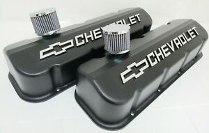 NOS Big Block Chevy Valve Covers, Black Powder Coat, W/ Breathers and Grommets