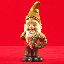 "Vintage Gnome Elf Xmas Holiday Porcelain Figurine Hand Painted Holding Wreath 5"""