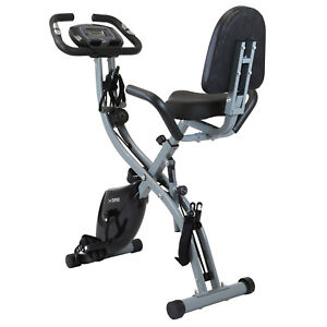 Xspec Recumbent Upright Foldable Exercise Bike with Resistance Bands, Black