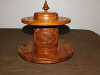 """VINTAGE TOBACCO 9"""" HIGH 9 1/2"""" ACROSS DECORATIVE WOOD CARVED PIPE HOLDER HUMIDOR"""