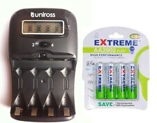 UNiROSS LCD 1-2 HOUR AA/AAA  Battery CHARGER & 4 x AA 2900 mAh Rechargeable Batt
