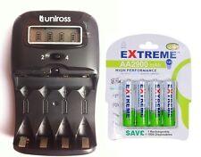 UNiROSS LCD 1-2 HOUR AA/AAA  Battery CHARGER & 4 x AA 2900 mAh Rechargeable Batt