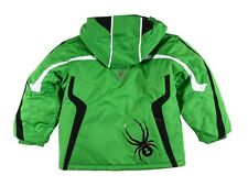 $170 Spyder Mini Leader Green Black White Hooded Insulated Ski Jacket Coat 2 2T