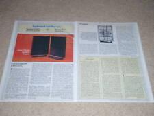 QUAD ESL-63 Rare Speaker Review, 1982, 2 pgs, Full Test