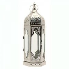 Large Vintage Silver Moroccan Table Lantern Candle Holder Wedding - 35cm