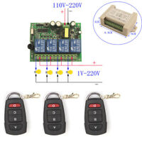 110V 220V 4 Channel Wireless ON/OFF Remote Control Switch Receiver Transmitter