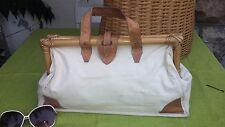 "Vtg 80s Beige Hessian Tan Leather Ladies Gladstone Grab Hand Bag 15 1/2"" Wide"