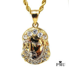 """Real 10k Yellow Gold Jesus Piece Pendant with 22"""" Rope Chain Set Hiphop Jewelry"""