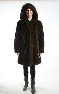 Size XL Stunning Mahogany Mink Fur Women Coat with Hood [118]