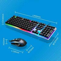 Wired Keyboard+Mouse USB Gaming Led Illuminated Back light Colorful Multimedia