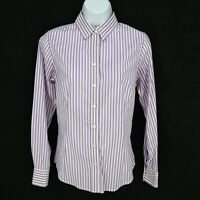 Banana Republic Button Up Shirt Womens Size 4 Purple Striped Stretch Long Sleeve