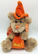 "Halloween Cuddly Bear Witch Hat Bow Boo Bag for Treats or Gift Card Tan 15"" NWT"