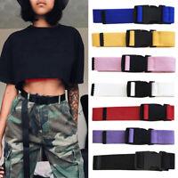 Women Men Outdoors Nylon Canvas Adjustable Waist Belt Plastic Buckle Long Belts