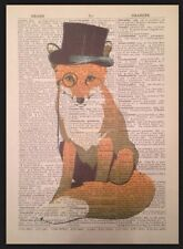 Fox Vintage Dictionary Page Print Wall Art Picture Hipster Quirky Animal Top Hat