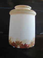 """ANTIQUE WHITE SHADE WITH FOLIAGE LEAF PAINTED EDGE 2.25"""" LIP  (3299)"""