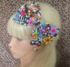BIG EIGHTIES PRINT MULTICOLOUR BOW ALICE HAIR HEAD BAND 80s RETRO FANCY DRESS