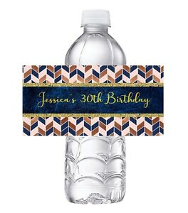 20 ROSE PINK GOLD NAVY BLUE CHEVRON BIRTHDAY PARTY FAVORS WATER BOTTLE LABELS