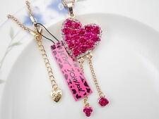 Betsey Johnson gem Rhinestone Rose Red Rose Heart Pendant Necklace #A366