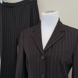 LRL Ralph Lauren Pant Suit Womens sz 6 Lined Blazer 31x31 Wool Stretch Brown