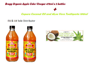 Bragg Organic Apple Cider Vinegar 473ml x 2 bottles + Copura Coconut Oil and ALo