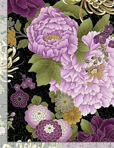 FLEUR Purple Flowers Allover Lg CM8810 Timeless Treasures Cotton Fabric NICE!