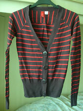H&M Red and Aubergine Brown Striped Cardigan