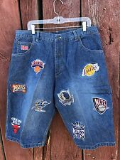 Vtg 90s Embroidered Men's Sz 38 UNK Denim Shorts Hip Hop *LOUD* OG NWA NBA Swag