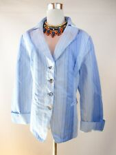 Designer Women's Vtg Striped Blue Casual Cotton Summer Jacket Blazer sz 18 BJ8