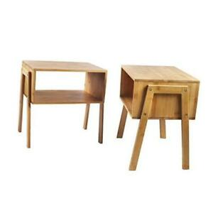 Bamboo Nightstand Stackable Side Table End Table Bedside Tables for Natural