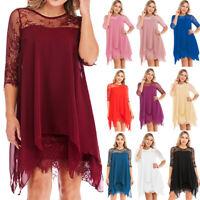 15Colors Women Fashion Chiffon Overlay 3/4Sleeve Lace Losse Dress Oversize S-5XL