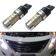 2X White Amber Switchback LED 7443 Parking Signal Light Bulbs + Resistors