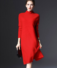Chic Womens Long Sleeve Winter Knitted Loose Dresses Pullover Sweater Gown