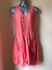 New ITALIAN LAGENLOOK Coral Linen Lace Trim Balloon Hem Dress - OSFA ( UK 14 )